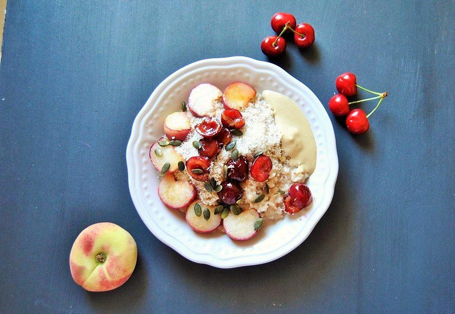 Kokos Kirsch Porridge vegan