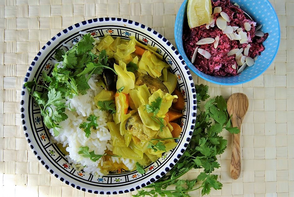 Spitzkohl Auberginen Curry mit roter Beete