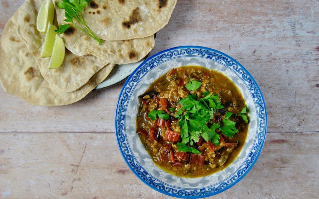 Ayurvedisches Linsen Mangold Curry mit Chapati