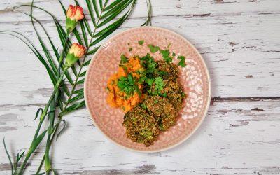 Wirsing Quinoa Bratlinge mit Süßkartoffelpürree